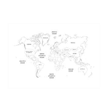Fotobehang wereldkaart (dessin 112117)