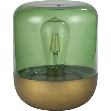 KARWEI tafellamp Logan groen glas messing