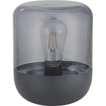 KARWEI tafellamp Logan rookglas zwart