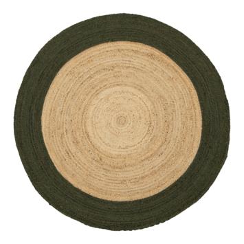 Sivas Vloerkleed hennep met groen rand Ø 150 cm