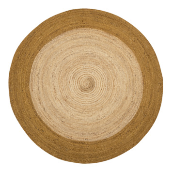 Sivas Vloerkleed hennep met okergele rand Ø 150 cm