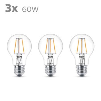 Philips LED peer E27 60W 3 stuks filament helder niet dimbaar