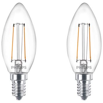 Philips LED kaars E14 2 stuks filament helder niet dimbaar