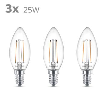 Philips LED kaars E14 25W 3 stuks filament helder niet dimbaar