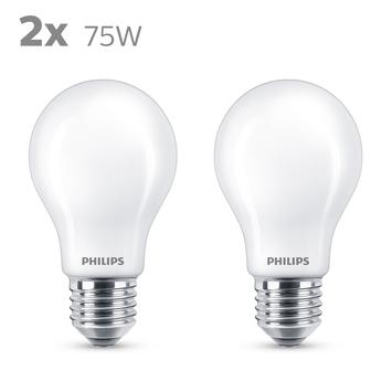 Philips LED peer E27 75W 2 stuks mat niet dimbaar