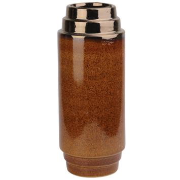 Keramieken vaas bruin as kleur 31x12 cm