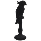 Decoratieve vogel op standaard zwart fluweel (12x10x34 cm)