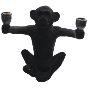 Kandelaar aapje 2 houders warm zwart fluweel (31x26x25cm)