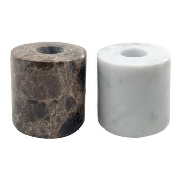 Marmeren kaarsenhouder wit of bruin 6 x 6 x 6 cm