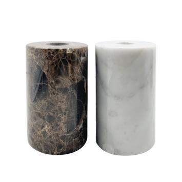 Marmeren kaarsenhouder wit of bruin 6 x 6 x 10 cm