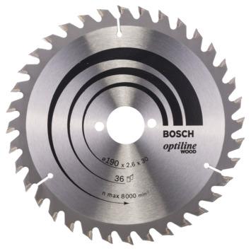 Bosch cirkelzaagblad Optiline Wood 36 tanden 190x30x2,6 mm