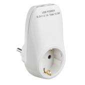 Handson Doorvoerstekker RA Wit Incl. 2 USB-aansluitingen