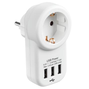 Handson Doorvoerstekker RA Wit Incl. 3 USB-aansluitingen