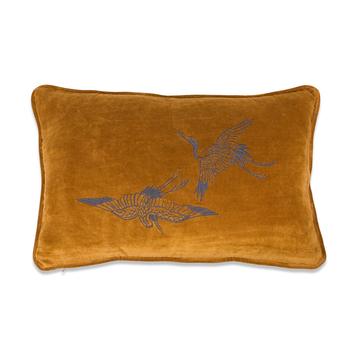 Kussen Borduur Kraanvogel 35x55 cm hazelnoot
