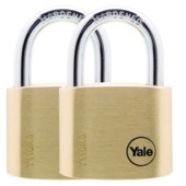 Yale hangslot standaard massief messing 40 mm (2 stuks)