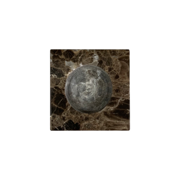 Marmeren kaarsenhouder vierkant bruin (7x7x3 cm)