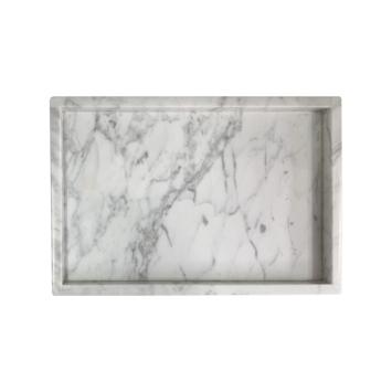 Marmeren dienblad rechthoek wit