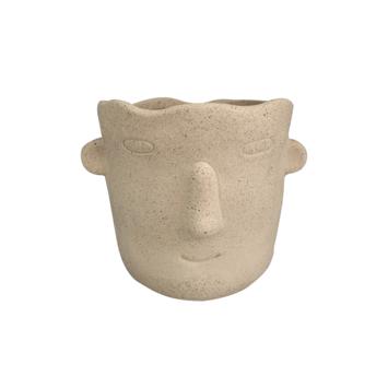 Keramieken vaas gezicht creme M (11x10x10cm)