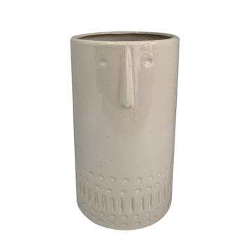 Keramieken vaas creme met gezicht (11x11x19cm)
