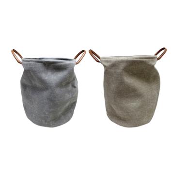 Stoffen mand met hengel hoog creme en groen (37x37x45cm) assorti