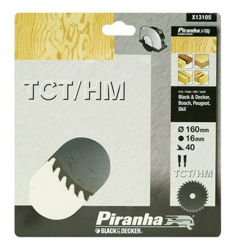 Piranha cirkelzaagblad X13105 TCT/HM 160x16 mm 40 tanden