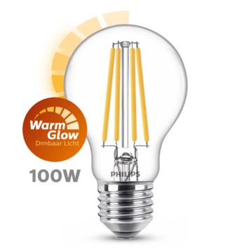 Philips LED peer E27 100W filament helder warmglow dimbaar