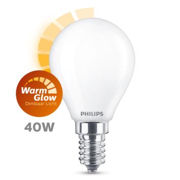 Philips LED kogel E14 40W mat warmglow dimbaar
