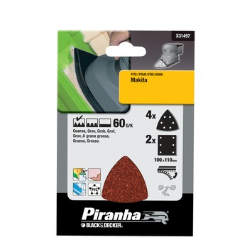 Piranha schuurpapier X31497-XJ K60 (set 6 stuks)