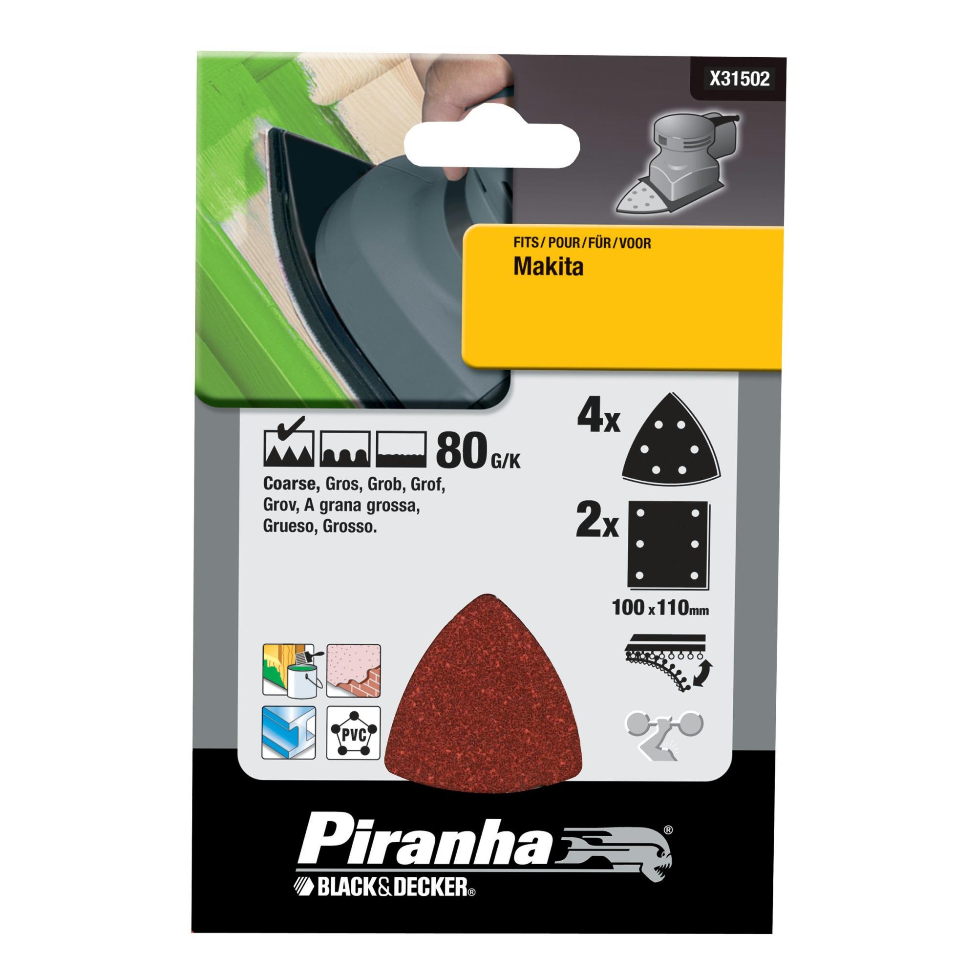 Piranha schuurpapier X31502-XJ K80 (set 6 stuks)