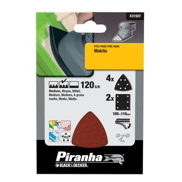 Piranha schuurpapier X31507-XJ 1/3 vel K120 (set 6 stuks)