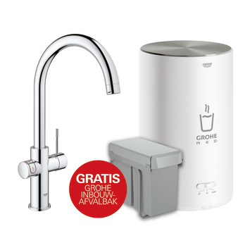 Grohe Red keukenkraan Compact met C-uitloop incl. 4 liter kokend water boiler Chroom