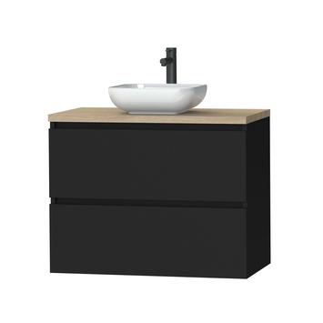 Tiger Karlo badkamermeubel 80 cm mat zwart met eiken wasblad en keramische waskom