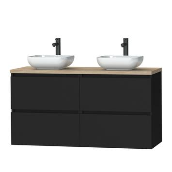 Tiger Karlo badkamermeubel 120 cm mat zwart met eiken wasblad en keramische waskom