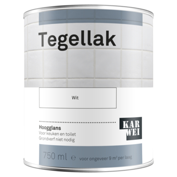 Karwei tegellak hoogglans wit 750 ml