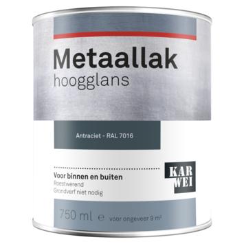 Karwei metaallak hoogglans RAL 7016 antraciet 750 ml