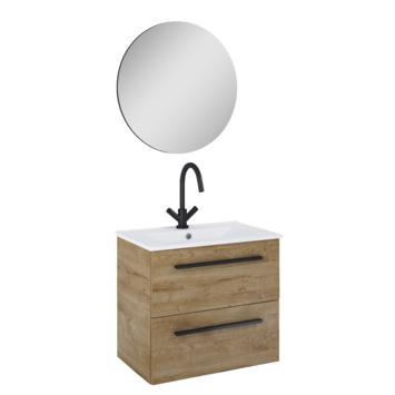 Atlantic Stella badmeubelset met spiegel en witte wastafel 60cm Canela eiken