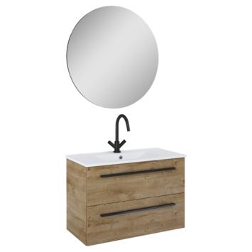 Atlantic Stella badmeubelset met spiegel en witte wastafel 80cm Canela eiken