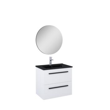 Atlantic Stella badmeubelset met spiegel en zwarte wastafel 60cm Mat Wit