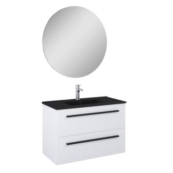 Atlantic Stella badmeubelset met spiegel en zwarte wastafel 80cm Mat Wit