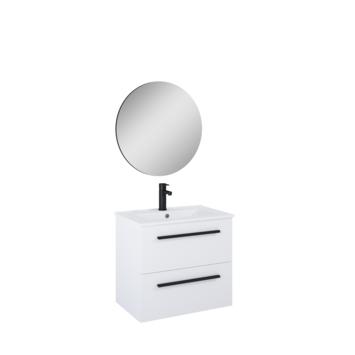 Atlantic Stella badmeubelset met spiegel en witte wastafel 60cm Mat Wit