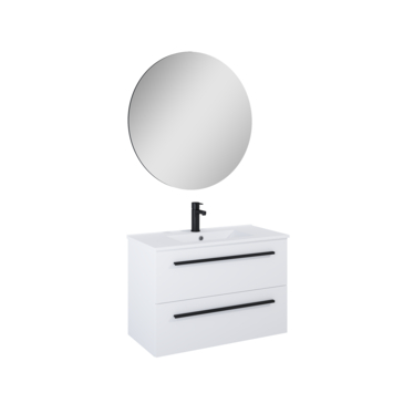 Atlantic Stella badmeubelset met spiegel en witte wastafel 80cm Mat Wit