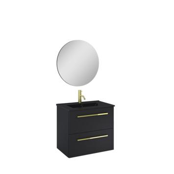 Atlantic Stella badmeubelset met spiegel en zwarte wastafel 60cm Mat Zwart