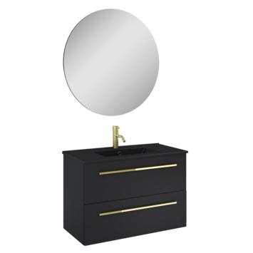 Atlantic Stella badmeubelset met spiegel en zwarte wastafel 80cm Mat Zwart