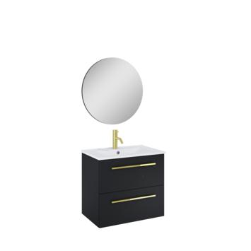 Atlantic Stella badmeubelset met spiegel en witte wastafel 60cm Mat Zwart