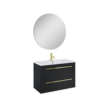 Atlantic Stella badmeubelset met spiegel en witte wastafel 80cm Mat Zwart