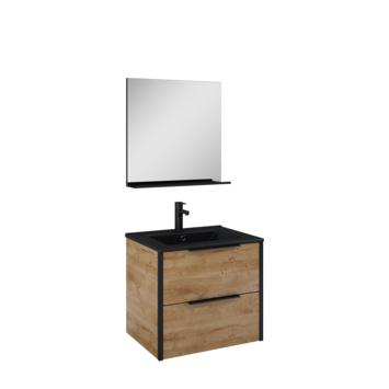 Atlantic Aria badmeubelset met spiegel en zwarte wastafel 60cm Canela eiken