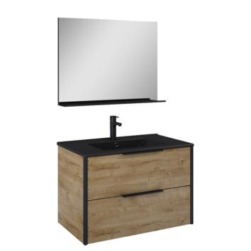 Atlantic Aria badmeubelset met spiegel en zwarte wastafel 80cm Canela eiken