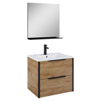 Atlantic Aria badmeubelset met spiegel en witte wastafel 60cm Canela Eiken