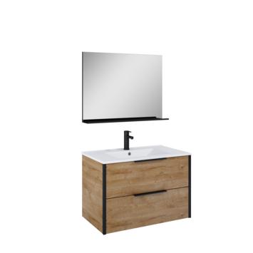 Atlantic Aria badmeubelset met spiegel en witte wastafel 80cm Canela Eiken