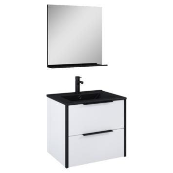 Atlantic Aria badmeubelset met spiegel en zwarte wastafel 60cm Mat Wit